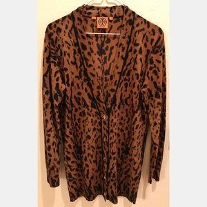 Tory Burch Simone Merino Wool Leopard Cardigan, S